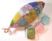Reserved for Connie- Pastel Embroidered Leaf Pincushion In hand dyed wool and wool roving. Handmade