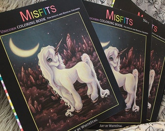 Unicorn Coloring book Misfits fantasy lowbrow art Vol. 7 - Adult colouring crystals, unicorns, magic and sparkles