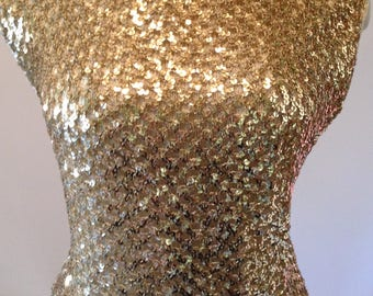 Vintage 50s 60s Gold Sequin Shell Sweater Blouse  38-42 bust L XL