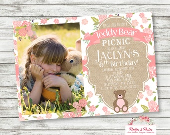 Photo Teddy Bear Picnic Invitation -  Teddy Bear Birthday Supplies - PRINTABLE Invitation - Teddy Bear Party Supplies - Digital Files