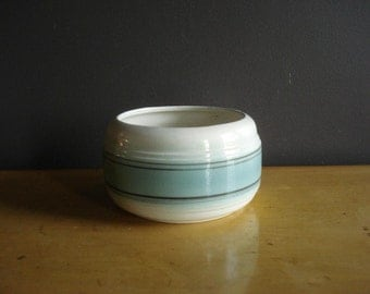 Gorgeous Round Teal and Gray and White Planter - Vintage Ceramic Bowl - Mid Century Flower Planter or Bowl