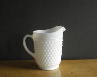 Vintage Hobnail Milkglass Pitcher - Large White Glass Milk Glass Textured Water Pitcher or Vase