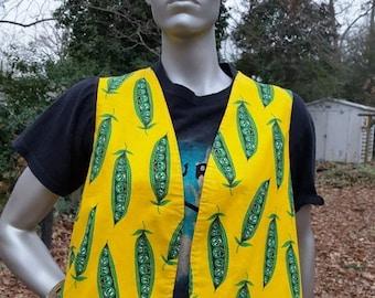 SALE 30% OFF Vintage Vest with Anthropomorphic Pea Pods, Fun Vest,  80s Vest, Novelty Vest Size M-L