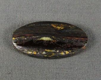Tiger Iron Cabochon Chatoyant shiny Hematite large oval cabochon hand cut unique