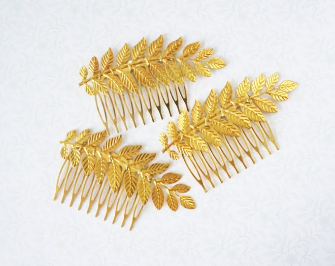 Nature Inspired Hair Comb, gold leaf hair comb accessories, simple rustic vintage garden weddings bridal shower gifts, Bridesmaids gifts