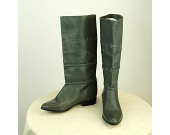 1980s boots flats gray leather made in Uruguay pirate boots tall boots Size 8.5 or 9