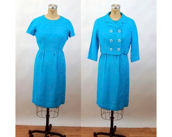 1960s dress and jacket turquoise blue linen cropped jacket double breasted Size M