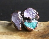 RESERVED Raw Amethyst Emerald Copper Stone Raw Crystal Ring Copper Size 5.5 Birthstone Rough Stone Jewelry