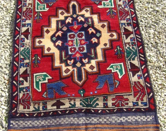 """Rich Red Baluchi rug/kilim from Afghanistan. 4ft 10"""" x 2 ft 7. 146 x 85 cm Hand woven."""