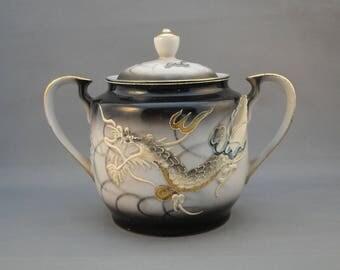Vintage Dragonware Morige Covered Sugar Made in Japan