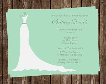 Bridal Shower Invitations, Mint, Green, White, Wedding, Dress, Gown, 10 Printed Cards with Envelopes, FREE Shipping, SIGOM, Custom, Simple