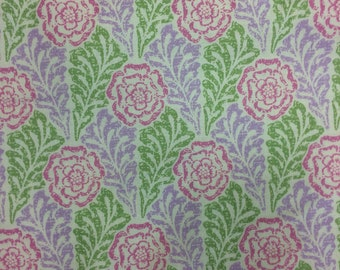 Sale fabric, bargain remnant, Carla Miller Rose Stencil, pink, green, lilac, roses fabric shabby chic type floral fabric