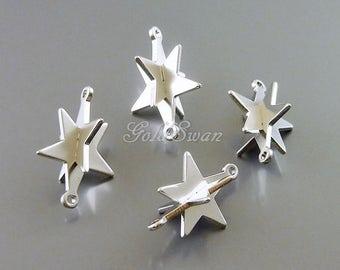 4 pcs 3-dimensional interlocking star charm connectors, star charms, star jewelry pendants 2102-MR