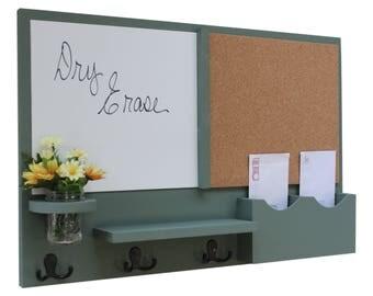 Mail Organizer -  Message Center - Cork Board - White Board -  Coat Rack - Mason Jar - Coat Hooks