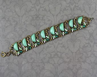 Vintage 1920s to 30s Art Deco Czech Neiger Brothers Leaf Enamel White and Green Linked Bracelet