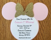 Pink Gold Minnie Mouse Glitter Invitations Minnie Invitations Minnie Mouse Head Invitation Birthday Baby Shower Invitations Minnie Inspired