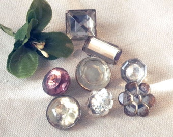Vintage / Antique Mirror Back Glass Buttons Lot of8 - Vintage Molded Glass - A variety of shapes for sewing - found in the sewing room