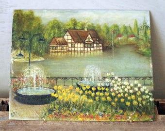 Oil on Board Cottage and Pond Scene Painting - Oil Painting House and Pond