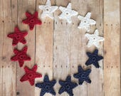 Crochet Stars Set of 12 Crochet Appliques in Red, White and Blue