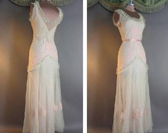 30s dress vintage 1930s SOFT PINK TULLE point d'esprit lace floral applique netting ruffle bias gown party dress