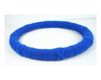 Knit Steering Wheel Cover (True Blue) with Safety Rubber Backing, Machine Washable