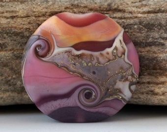 "Handmade Lampwork Focal Bead, Organic Lentil Purple, Pink, Tan ""Sunset Beach"""