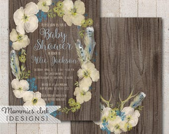 Wood Grain Spring Baby Shower Invitation, Boho Chic Floral Feathers Wreath Invite, Watercolor Wreath Invitation, Watercolor Poppy Invitati