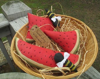Watermelon Bowl Fillers, Summer Ornies, Watermelon Slices and Bumblebees, Watermelon Tucks, Summer Decor, Kitchen Decor, Primitive Decor