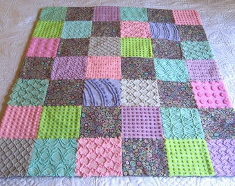 "Kaffee Fassett ""Paperweight""  Cotton Print and Vintage Chenille Baby or Lap Quilt 39"" x 45"" Ready to ship"
