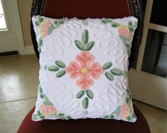 Handmade Vintage Chenille Pillow - Intricate Scrollwork Peachy Coral Pink Flowers- Insert included