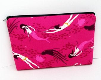 Mermaid Make up Bag, Underwater Sisters in Fuchsia, Heather Ross Mendocino Fabric