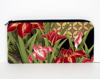 Pencil Pouch Zippered, Asian Floral Blossoms, Black Gold Metallic Money Purse