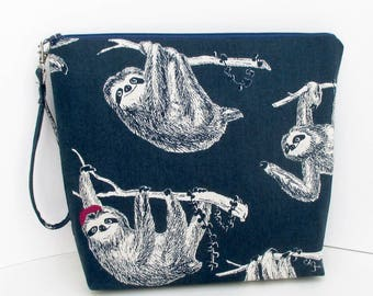 Tall Zippered Pouch, Tree Sloth on Navy Linen, Sloth with Red Hat, Cosmetic Bag, Project Bag