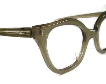 Vintage 50s Women's Olive HornRim Cateye Eyeglasses Eyewear