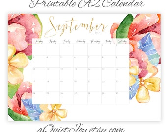 Instant. A2. September 2017 Gorgeous Large Watercolor Floral Printable Wall Calendar. Large Poster Calendar. Office, School. Homeschool Plan