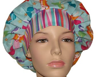 Bouffant Scrub Hats-Aqua Fairy Tails Mermaids-ScrubHeads-Mermaid Scrub Hat-Scrub Caps-Surgical Caps-Surgical Hats-Holiday Scrub Hats
