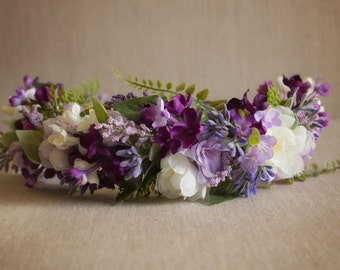 Spring Purple and Lavender Floral Halo with Greenery - roses...made to match Well Dressed Wolf - Dollcake - Bridal or Flower Girls