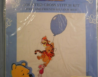 NEW Disney Pooh and His Friends Balloon Ride Counted Cross Stitch Kit Tigger Piglet