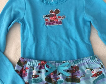 Girls Size 8 Flannel Pajama Pants and Matching Thermal Shirt