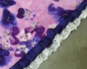 "Custom for CathyW - Purple Pansies Fancy Bandanchy with dotted pleated ribbon and lace trim - Size XXL: 20"" to 22"" neck"