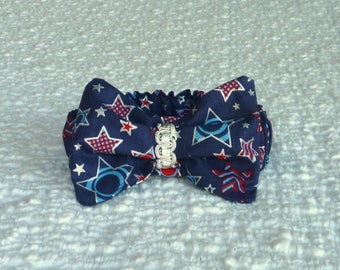 "Patriotic Silver Stars Dog Scrunchie Collar - bow tie - Size S: 12"" to 14"" neck"