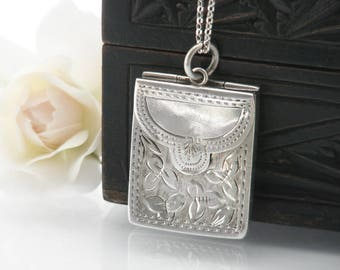 Antique Sterling Silver Locket | 1905 Edwardian Envelope Locket | Chatelaine Silver Stamp Case | Hallmarked Silver - 24 Inch Chain Included