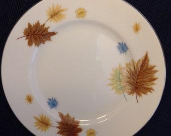 Royalton China Co Fall (Autumn) Leaves Dessert Plate Translucent Porcelain White Japan