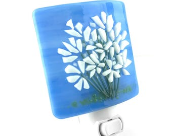 Night Light, Blue, White Flowers, Stained Glass