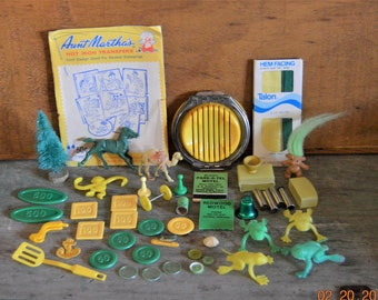 Junk Drawer Lot Destash, Aunt Martha's, troll doll,horse,camel,play money, miniature figures,game pieces,Matches,Yellow,Green Craft Supply