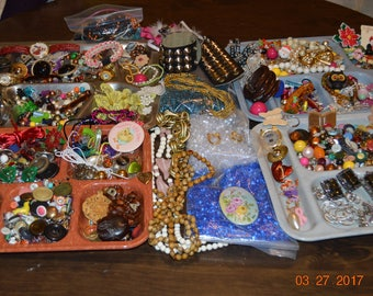 8.4 lbs Beads,Craft Jewelry Box,1920's 1990's,Vintage Antique Destash,Upcycle Jewelry Making Components,Lot,Necklace,Brooch,Earring Supplies
