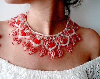 Red and White Crochet Lace Necklace Beaded statement Bib necklace Crochet jewellery Tradional Handmade