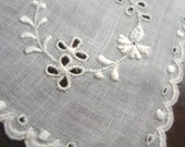 50's Vintage White Fine Linen Handkerchief with Floral Cut out Embroidery and Scalloped Edging