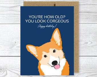 Funny Dog Card, Corgi Birthday Card