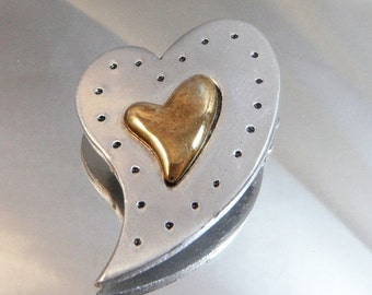 ON SALE Vintage Heart Brooch. Pewter. Brass. Abstract Heart Pin.